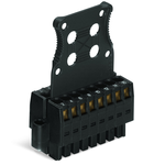 1-conductor female connector, 2-row; 100% protected against mismating; Screw flange; Strain relief plate; direct marking; 1.5 mm²; Pin spacing 3.5 mm; 16-pole; 1,50 mm²; black