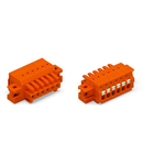 1-conductor female plug; 100% protected against mismating; push-button; clamping collar; 1.5 mm²; Pin spacing 3.81 mm; 2-pole; 1,50 mm²; orange