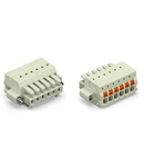 1-conductor female plug; 100% protected against mismating; push-button; Screw flange; 1.5 mm²; Pin spacing 3.5 mm; 5-pole; 1,50 mm²; light gray