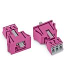 Snap-in plug; 3-pole; Cod. B; 1,50 mm²; pink