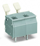 PCB terminal block; finger-operated levers; 2.5 mm²; Pin spacing 10/10.16 mm; 10-pole; CAGE CLAMP®; commoning option; 2,50 mm²; gray