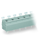 PCB terminal block; push-button; 2.5 mm²; Pin spacing 10/10.16 mm; 4-pole; suitable for Ex-e applications; CAGE CLAMP®; commoning option; 2,50 mm²; light gray