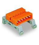 Double pin header; DIN-35 rail mounting; Pin spacing 5.08 mm; 22-pole; orange