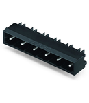 THR male header; 1.2 x 1.2 mm solder pin; angled; Pin spacing 7.5 mm; 6-pole; black