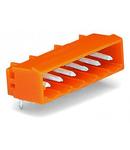 THT male header; 1.2 x 1.2 mm solder pin; angled; Pin spacing 5.08 mm; 23-pole; orange