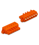 1-conductor female plug; push-button; clamping collar; 2.5 mm²; Pin spacing 7.62 mm; 10-pole; 2,50 mm²; orange