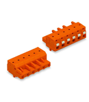 1-conductor female plug; push-button; Snap-in mounting feet; 2.5 mm²; Pin spacing 7.62 mm; 2-pole; 2,50 mm²; orange
