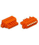1-conductor female plug; push-button; clamping collar; 2.5 mm²; Pin spacing 5.08 mm; 15-pole; 2,50 mm²; orange