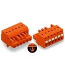 1-conductor female plug; push-button; Snap-in mounting feet; 2.5 mm²; Pin spacing 5.08 mm; 11-pole; 2,50 mm²; orange