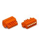 1-conductor female plug; push-button; Screw flange; 2.5 mm²; Pin spacing 5.08 mm; 6-pole; 2,50 mm²; orange