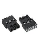 Plug; 3-pole; Cod. A; 4,00 mm²; black