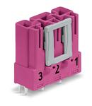 Plug for PCBs; straight; 3-pole; Cod. B; pink