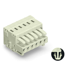1-conductor female plug; 100% protected against mismating; Snap-in mounting feet; 1.5 mm²; Pin spacing 3.5 mm; 5-pole; 1,50 mm²; light gray
