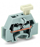 2-conductor terminal block; on one side with push-button; with snap-in mounting foot; for plate thickness 0.6 - 1.2 mm; Fixing hole 3.5 mm Ø; 2.5 mm²; CAGE CLAMP®; 2,50 mm²; gray