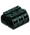4-conductor chassis-mount terminal strip; 3-pole; PE-N-L1; with ground contact; 4 mm²; 4,00 mm²; black