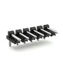 Solder pin strip; 1.0 mm Ø solder pin; angled; Pin spacing 3.5 mm; 2-pole; black