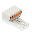 1-conductor THT female header; 1.0 mm Ø solder pin; angled; Gripping plate; 1.5 mm²; Pin spacing 3.5 mm; 3-pole; 1,50 mm²; light gray