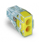 PUSH WIRE® connector for junction boxes; for solid and stranded conductors; max. 2.5 mm²; 2-conductor; transparent housing; yellow cover; Surrounding air temperature: max 60°C; 2,50 mm²