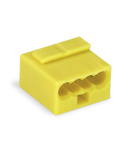 MICRO PUSH WIRE® connector for junction boxes; for solid conductors; 0.8 mm Ø; 4-conductor; light gray cover; Surrounding air temperature: max 60°C; yellow