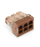 PUSH WIRE® connector for junction boxes; for solid conductors; max. 4 mm²; 6-conductor; Brown clear housing; brown cover; Surrounding air temperature: max 60°C; 2,50 mm²