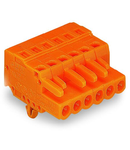 1-conductor female plug; Snap-in mounting feet; 2.5 mm²; Pin spacing 5.08 mm; 20-pole; 2,50 mm²; orange