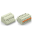 1-conductor female plug; 100% protected against mismating; push-button; 2.5 mm²; Pin spacing 5 mm; 4-pole; 2,50 mm²; light gray