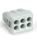 PUSH WIRE® connector for junction boxes; for solid and stranded conductors; for Ex applications; max. 2.5 mm²; 6-conductor; light gray housing; light gray cover; Surrounding air temperature: max 60°C; 2,50 mm²