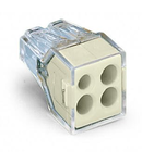 PUSH WIRE® connector for junction boxes; for solid and stranded conductors; max. 2.5 mm²; 4-conductor; transparent housing; light gray cover; Surrounding air temperature: max 60°C; 2,50 mm²
