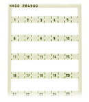 Mini-WSB marking card; as card; MARKED; 1, , 2, , 3, , 4, , 5, 47, , 48, , 49, , 50; not stretchable; Horizontal marking; snap-on type; white