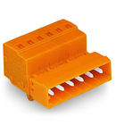 1-conductor male connector; Snap-in mounting feet; 2.5 mm²; Pin spacing 5.08 mm; 12-pole; 2,50 mm²; orange
