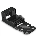 Mounting carrier; for 3-conductor terminal blocks; 221 Series - 4 mm²; with snap-in mounting foot for vertical mounting; black