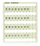 WSB marking card; as card; MARKED; 1A, 1B, ..., 1G, 1H, ... to 10A, 10B, ..., 10G, 10H; not stretchable; Vertical marking; snap-on type; white