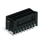 THT male header, 2-row; 0.8 x 0.8 mm solder pin; straight; 100% protected against mismating; Threaded flange; Pin spacing 3.5 mm; 2 x 14-pole; black