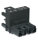 h-distribution connector; 4-pole; Cod. A; 1 input; 2 outputs; outputs on one side; 3 locking levers; for flying leads; black