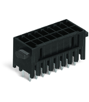 THR male header, 2-row; 0.8 x 0.8 mm solder pin; straight; 100% protected against mismating; Levers; Pin spacing 3.5 mm; 2 x 3-pole; black