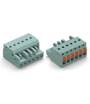 1-conductor female plug; push-button; with integrated end plate; 2.5 mm²; Pin spacing 5 mm; 2-pole; 2,50 mm²; gray