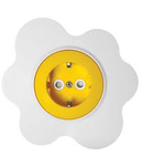 Priza schuko 16A alb-galben floare