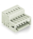 1-conductor male connector; 100% protected against mismating; Strain relief plate; 1.5 mm²; Pin spacing 3.5 mm; 7-pole; 1,50 mm²; light gray
