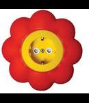 Priza schuko 16a galben-rosu floare