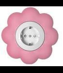 Priza schuko 16a alb-roz floare