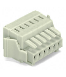 1-conductor female plug; 100% protected against mismating; Locking lever; Strain relief plate; 1.5 mm²; Pin spacing 3.5 mm; 20-pole; 1,50 mm²; light gray