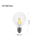 Led Bec Filament LED LAMP INCANDESCENȚĂ E27 G80, 230V, 4W, E27, 2700K, 470Lm, 360 °, 15000h, IP20, Ø80х115, Ra≥80