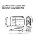 Lampa cu LED stradala LIGHT STREET GRANADA PRO, 230V, 50W, 5000K, 7000Lm, 145 ° / 60 °, 100000h, IK10, IP66, 460x260x100, Ra≥80