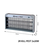 Anti Lampa insecte KILL PEST, 230V, 2x20 W, 2, magnetic, IP20, 640x255x70