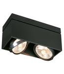 Corp iluminat TAVAN, KARDAMOD GU10 Luminita Plafonul, negru cu Doua capete, QPAR111, dreptunghiular Inclinatie, negru mat, max. 150W,