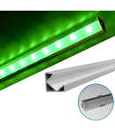 Profil Aluminiu 90° PT pentru banda LED dispersor transparent - L:2m