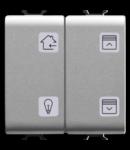 Push buton cu simbol interschimbabil - EASY - 4 canale - 2 module - TITANIUM - CHORUS