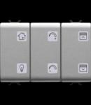 Push buton cu simbol interschimbabil - WITH ACTUATOR - EASY - 6+1 canale - 3 module - TITANIUM - CHORUS