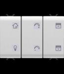Push buton cu simbol interschimbabil - WITH Actuator jaluzele - EASY - 6+1 canale - 3 module - ALB - CHORUS