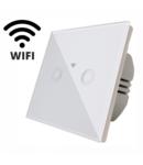 Intrerupator  dublu, comutator alb  simplu TOUCH - actionare prin atingere plus comunicatie Wifi